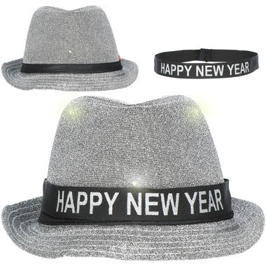Happy New Year Hut mit LED, silber