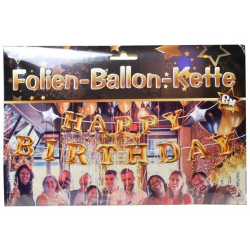 Folien-Ballon-Kette Happy Birthday