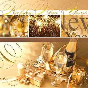 Servietten HAPPY NEW YEAR, gold