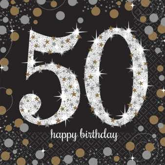 Happy Birthday Sparkling Servietten 50