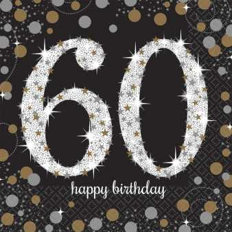 Happy Birthday Sparkling Servietten 60