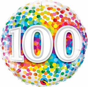 Happy Birthday Folienballon Confetti, 100