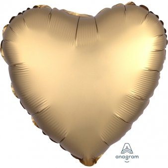 Satin Luxe Gold Folienballon, Herz