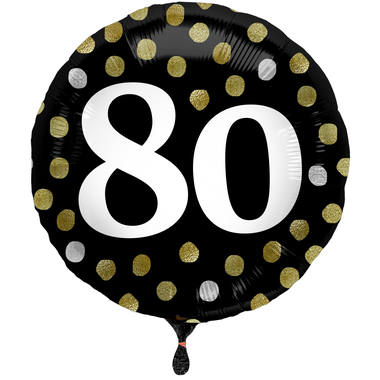 Ballon Glossy Happy Birthday 80, schwarz