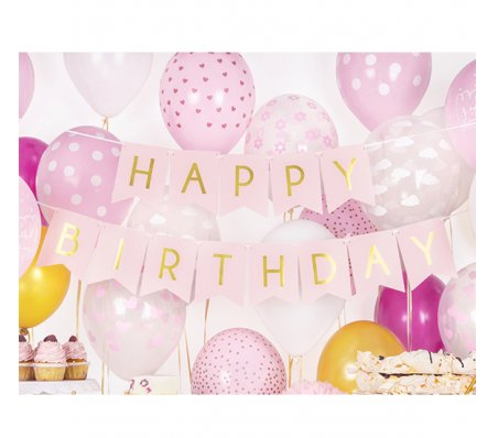 Bannergirlande - Happy Birthday - Rosa