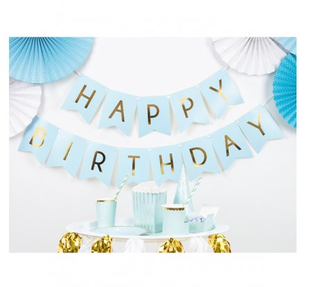 Bannergirlande - Happy Birthday - Blau