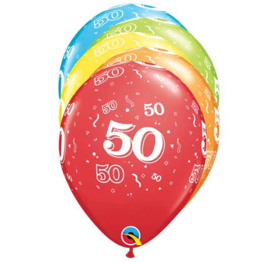 Qualatex Ballons - Zahl 50, bunt