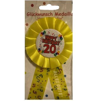 Anstecker / Brosche Happy Birthday 20, gelb